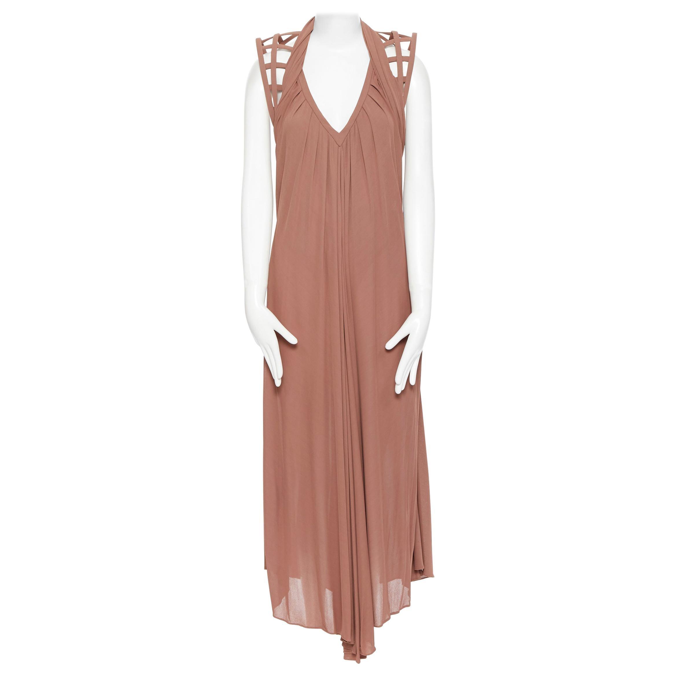 JEAN PAUL GAULTIER nude beige caged structured shoulder draped midi dress