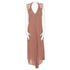 JEAN PAUL GAULTIER nude beige caged structured shoulder draped midi dress