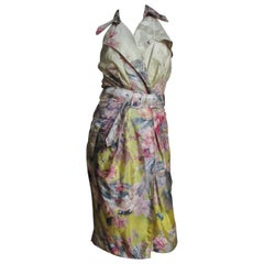 Jean Paul Gaultier Ombre Silk Flower Wrap Dress
