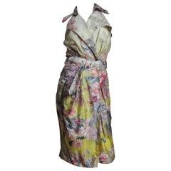 Jean Paul Gaultier Ombre Silk Flower Wrap Dress