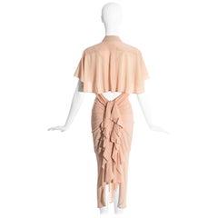 Jean Paul Gaultier peach corset ruffled shirt dress, ss 2005