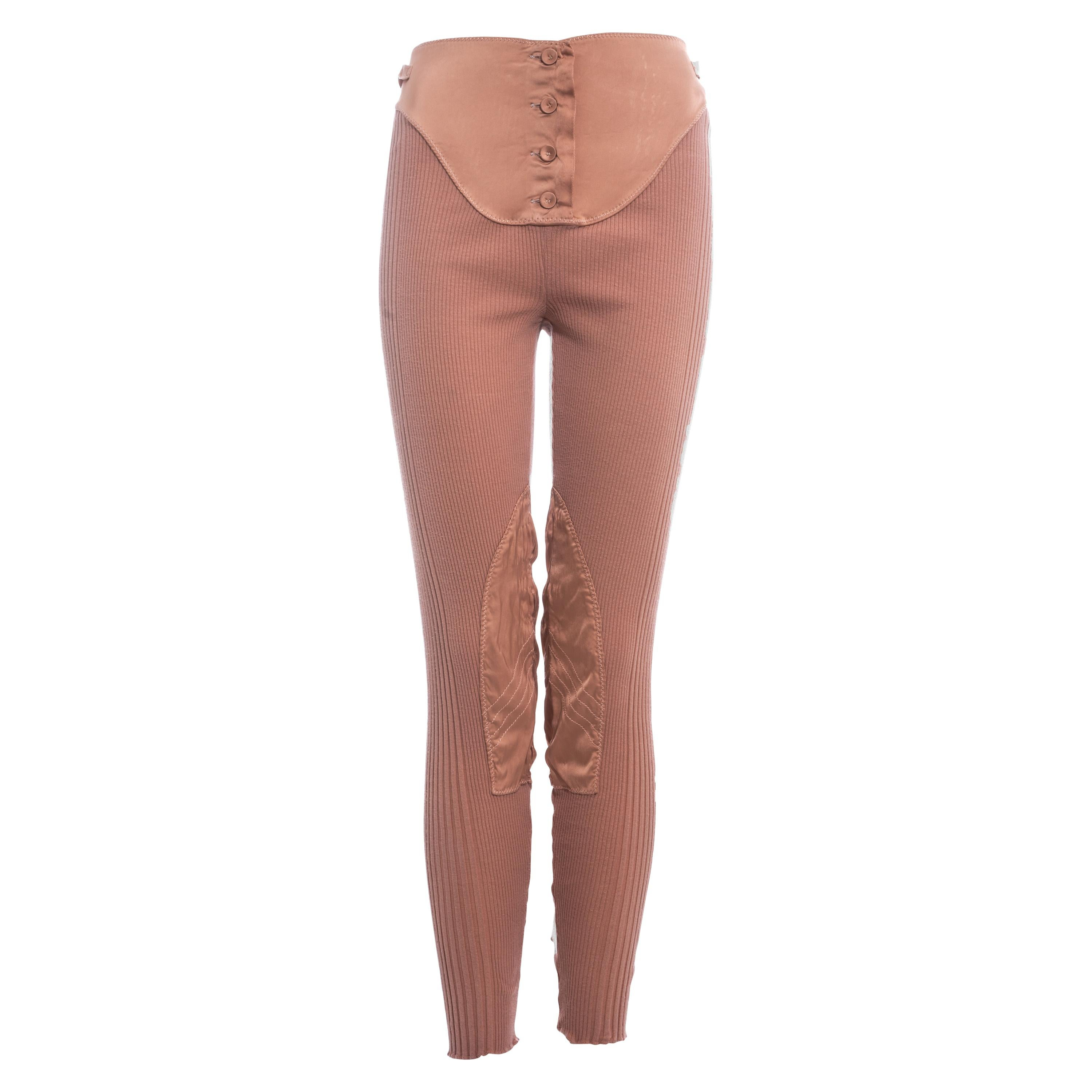 Jean Paul Gaultier peach rib knit and satin lace up legging pants, ss 1992
