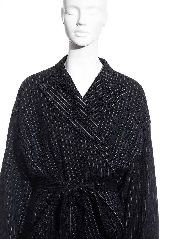 Black Jean Paul Gaultier pinstripe wool blazer wrap jacket, fw 1994 For Sale