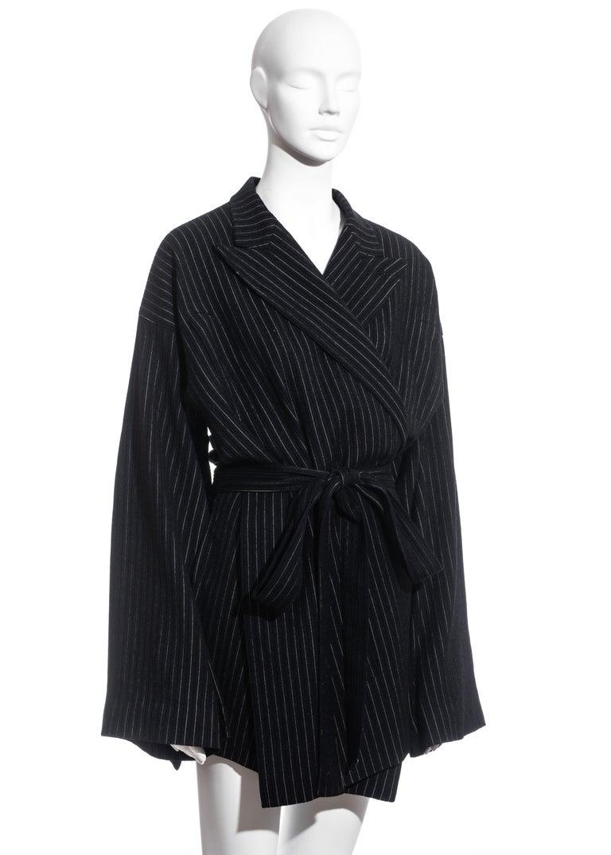 Jean Paul Gaultier pinstripe wool blazer wrap jacket, fw 1994 In Excellent Condition For Sale In London, GB