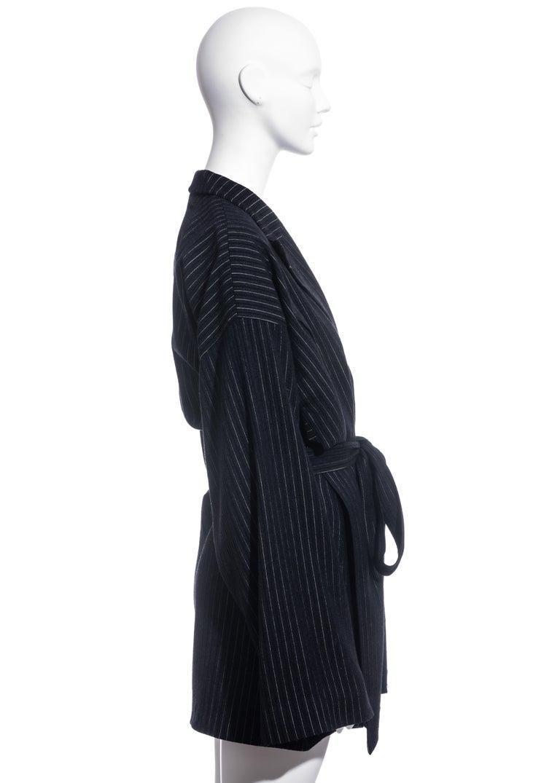 Women's Jean Paul Gaultier pinstripe wool blazer wrap jacket, fw 1994 For Sale
