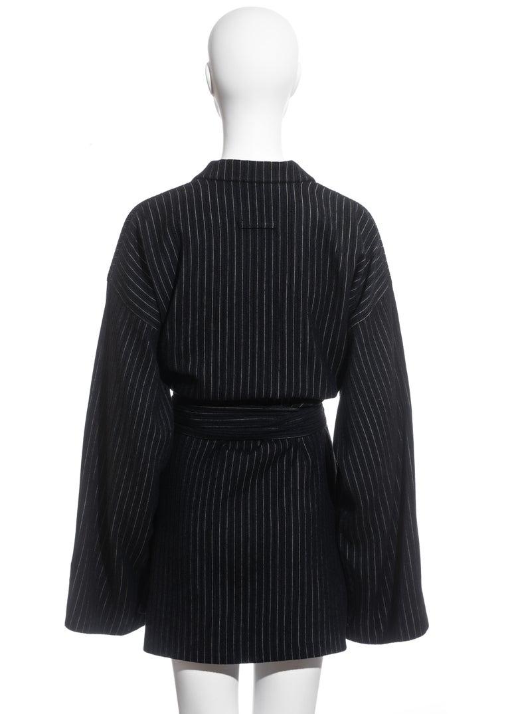 Jean Paul Gaultier pinstripe wool blazer wrap jacket, fw 1994 For Sale 1