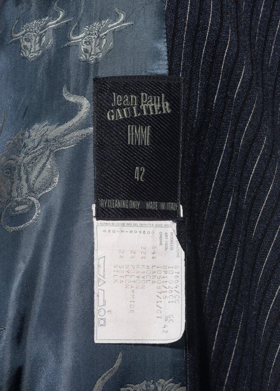 Jean Paul Gaultier pinstripe wool blazer wrap jacket, fw 1994 For Sale 2