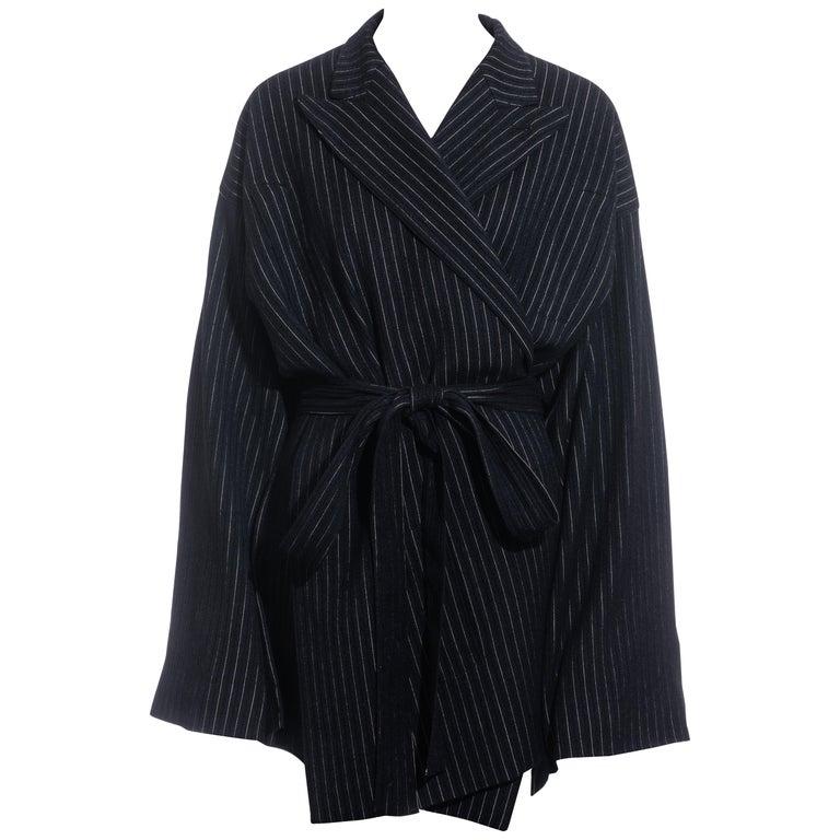 Jean Paul Gaultier pinstripe wool blazer wrap jacket, fw 1994 For Sale