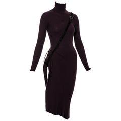 Jean Paul Gaultier plum rib-knit wool dress with pony hair harness, fw 2002