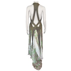 Jean Paul Gaultier Plunging Neckline Cutout Open Back Silk Knit Maxi Dress