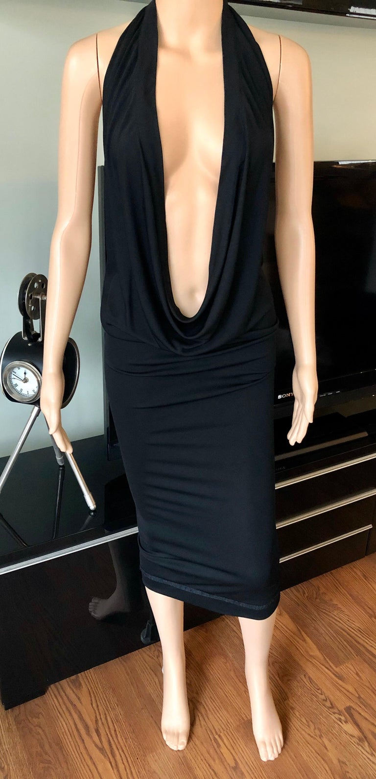 Jean Paul Gaultier Plunging Neckline Draped Halter Open Back Black Dress In Good Condition For Sale In Totowa, NJ