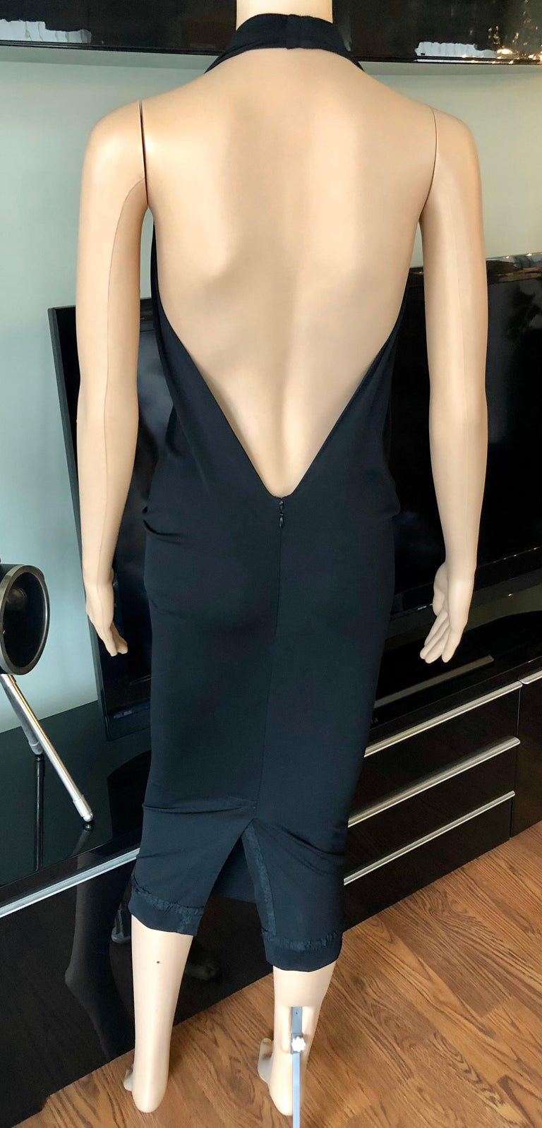Jean Paul Gaultier Plunging Neckline Draped Halter Open Back Black Dress For Sale 2