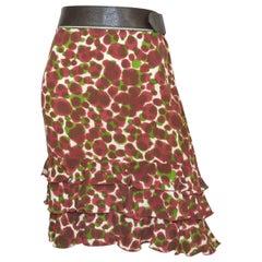 Jean Paul Gaultier Print Belted Skirt with Ruffle Hem