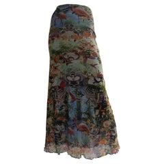 Jean Paul Gaultier Printed Long Skirt 1990s