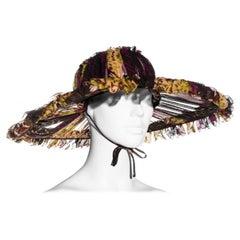 Jean Paul Gaultier printed pleated silk chiffon wide brim hat, ss 2000