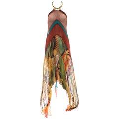 Jean Paul Gaultier Printed Silk Chiffon Beaded Collar Halter Dress, Spring 2005