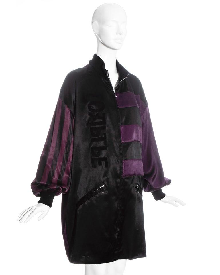 Black Jean Paul Gaultier purple and black satin jacket, fw 1986 For Sale