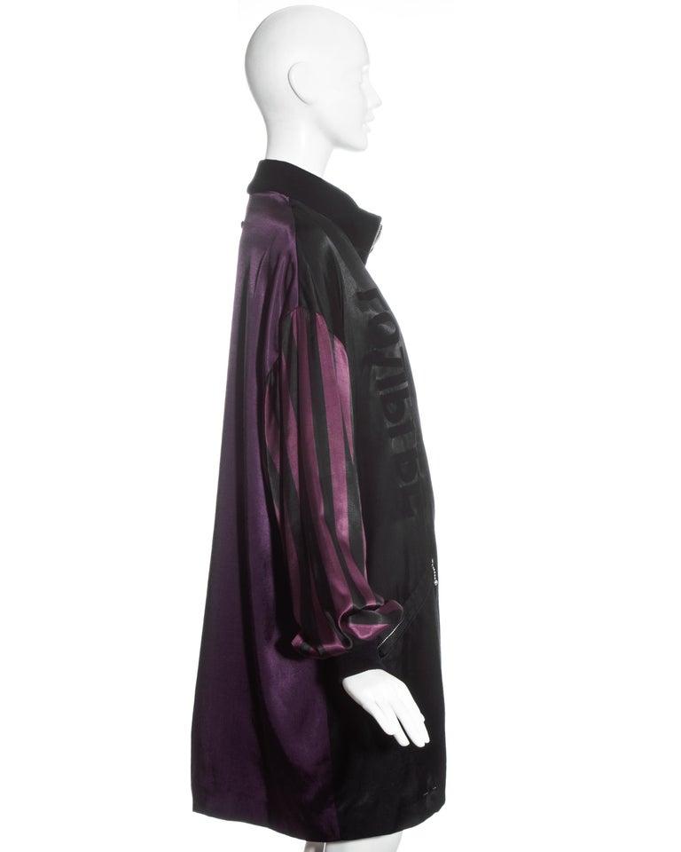 Women's or Men's Jean Paul Gaultier purple and black satin jacket, fw 1986 For Sale