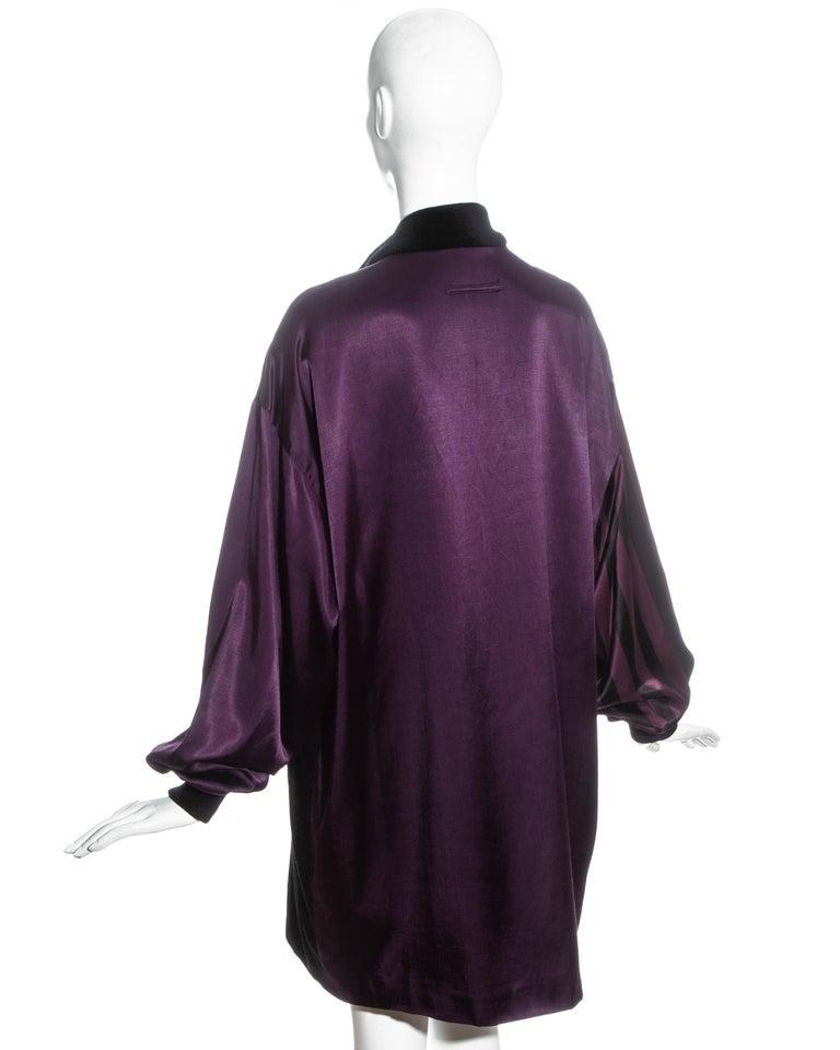 Jean Paul Gaultier purple and black satin jacket, fw 1986 For Sale 1
