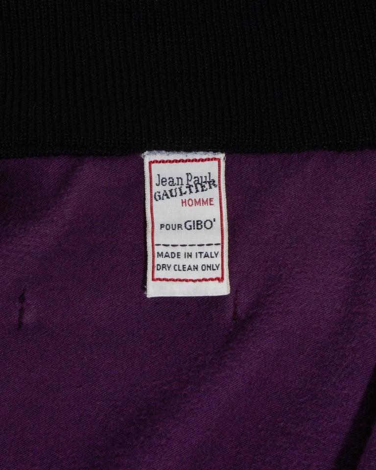 Jean Paul Gaultier purple and black satin jacket, fw 1986 For Sale 2