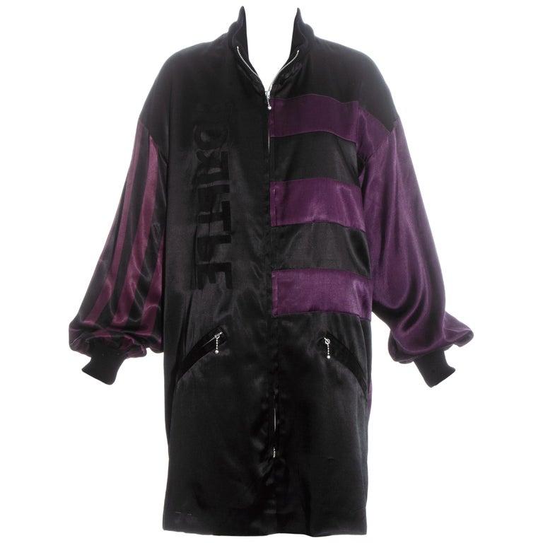 Jean Paul Gaultier purple and black satin jacket, fw 1986 For Sale