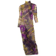 Jean Paul Gaultier Purple Mixed Print Mesh Dress