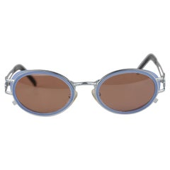 Jean Paul Gaultier Rare Vintage Silver Oval Sunglasses Mod. 58-6202