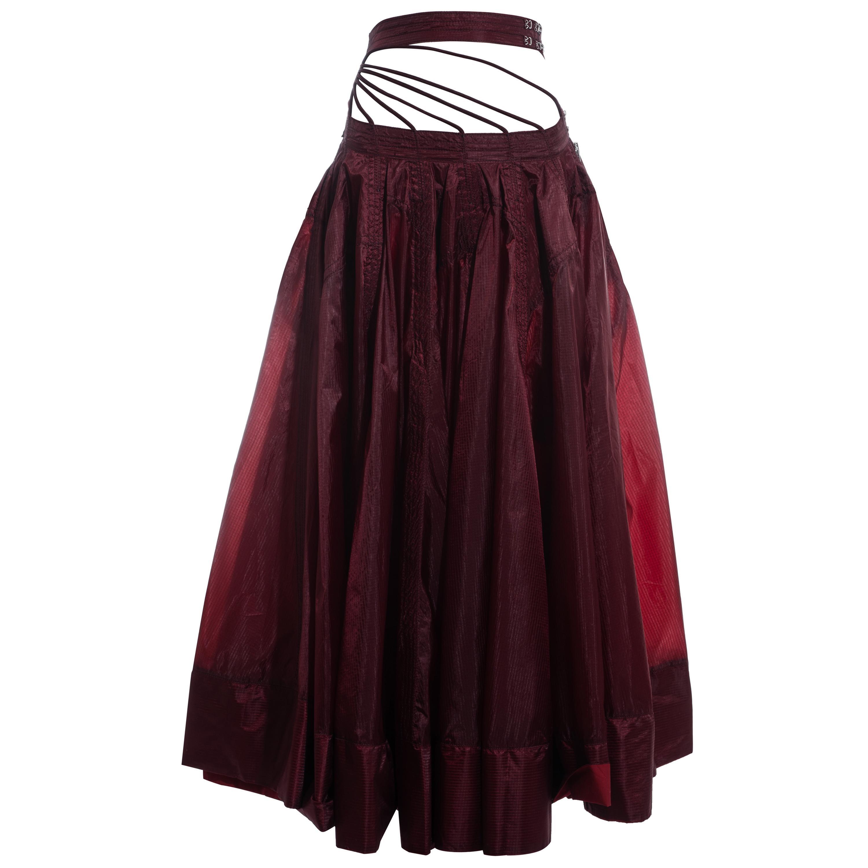 Jean Paul Gaultier red nylon parachute maxi skirt, ss 2002