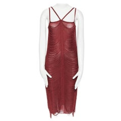 JEAN PAUL GAULTIER red rayon draped fringe knitted cocktail flapper dress M