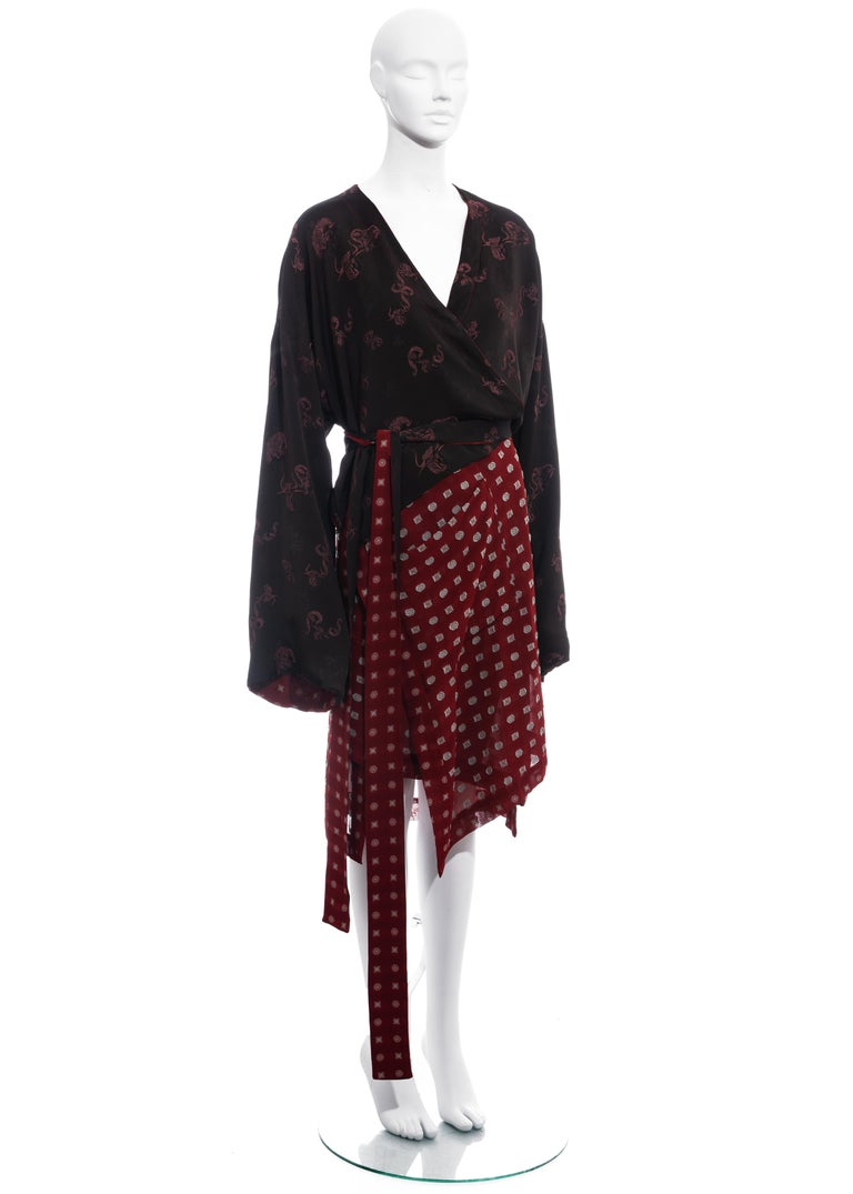 Black Jean Paul Gaultier reversible chiffon and jacquard evening robe, fw 1994 For Sale