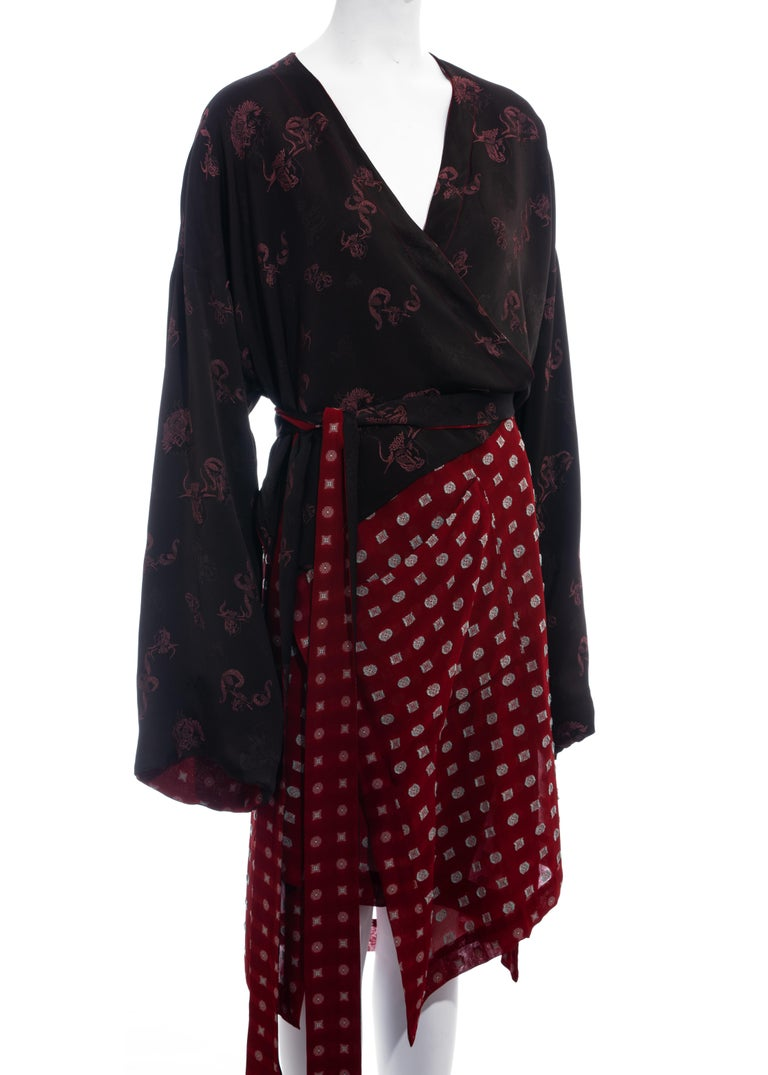 Jean Paul Gaultier reversible chiffon and jacquard evening robe, fw 1994 In Excellent Condition For Sale In London, GB