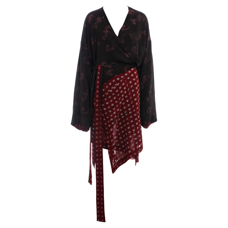 Jean Paul Gaultier reversible chiffon and jacquard evening robe, fw 1994