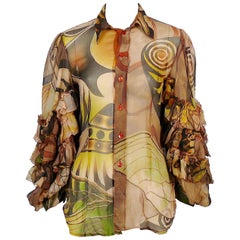 Jean Paul Gaultier Ruffled Sleeve Sheer Blouse 2005 Ready to Wear Collection
