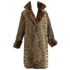 Jean Paul Gaultier Runway Animal Print Faux Fur Trim Coat, Fall 2004