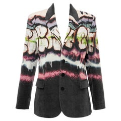 Jean Paul Gaultier Runway Cotton Velvet Graffiti Print Blazer, Fall 2012
