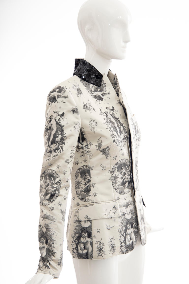 Jean Paul Gaultier Runway Silk Printed Sequin Collar Tailored Blazer, Fall 2007 In Excellent Condition In Cincinnati, OH