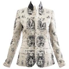 Jean Paul Gaultier Runway Silk Printed Sequin Collar Tailored Blazer, Fall 2007