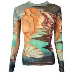 """Jean Paul Gaultier S/S 1995 Vintage """"Birth of Venus"""" Print Semi-Sheer Mesh Top"""