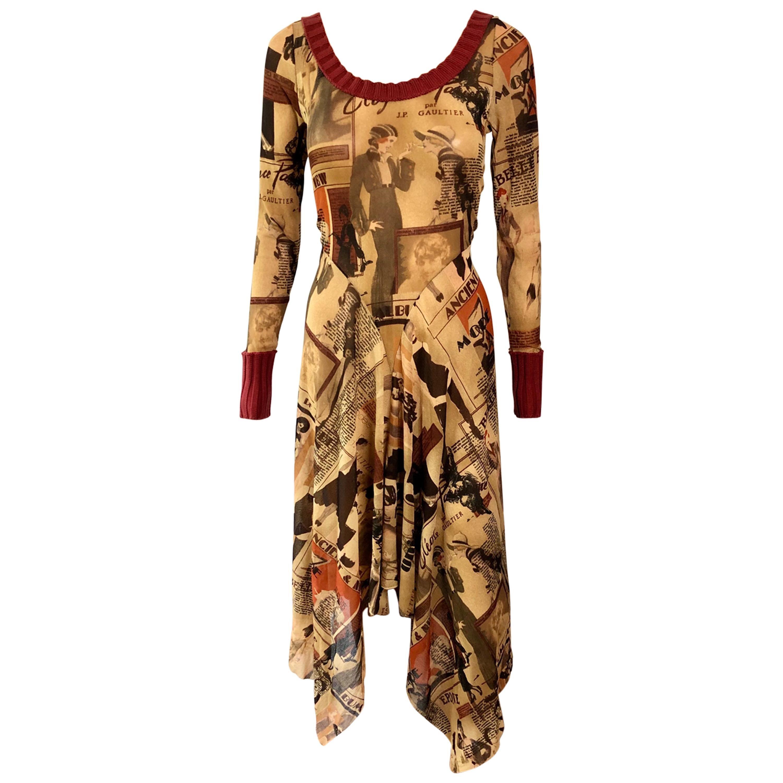 Jean Paul Gaultier S/S 1996 Vintage Belle Epoque Print Mesh Maxi Dress