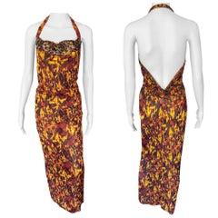 Jean Paul Gaultier S/S 1997 Vintage Embellished Open Back Maxi Evening Dress