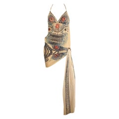 Jean Paul Gaultier S/S 2009 Mesh Nude Tribal Print Halter Dress