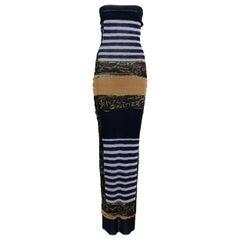 Jean Paul Gaultier Sailor Graffitis Print Fuzzi Mesh Strapless Tube Maxi Dress