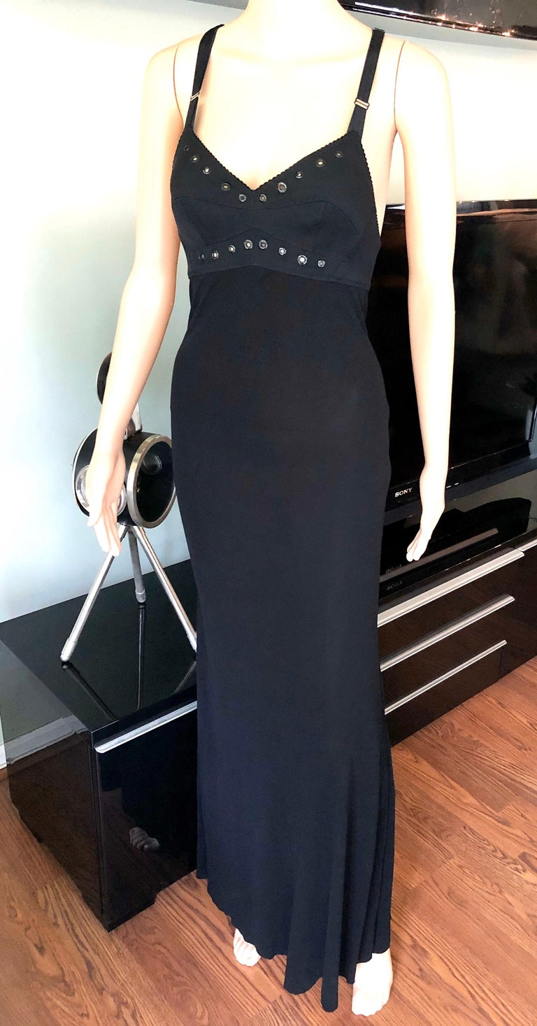 Jean Paul Gaultier Semi-Sheer Cutout Back Grommet Accented Bust Black Dress In Good Condition For Sale In Totowa, NJ