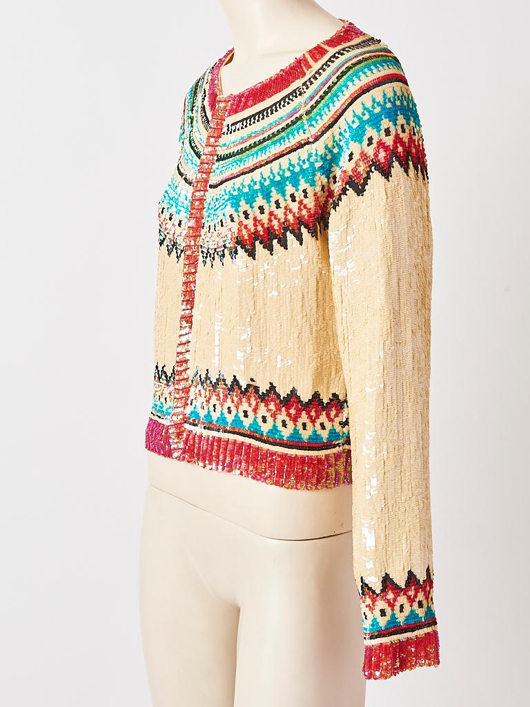 Beige Jean Paul Gaultier Sequined Fair Isle Pattern Cardigan For Sale