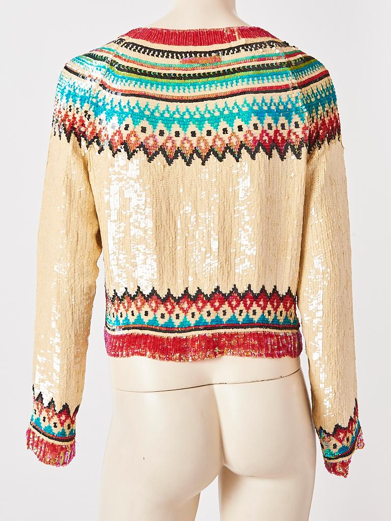 Jean Paul Gaultier Sequined Fair Isle Pattern Cardigan For Sale 1