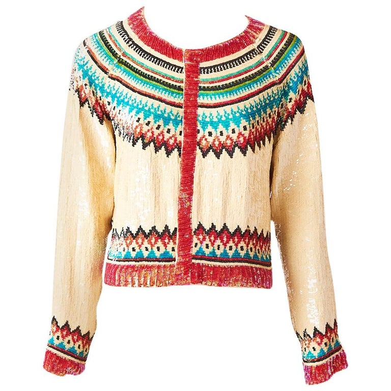 Jean Paul Gaultier Sequined Fair Isle Pattern Cardigan For Sale