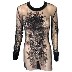 Jean Paul Gaultier Sheer Tattoo Print Tunic Top