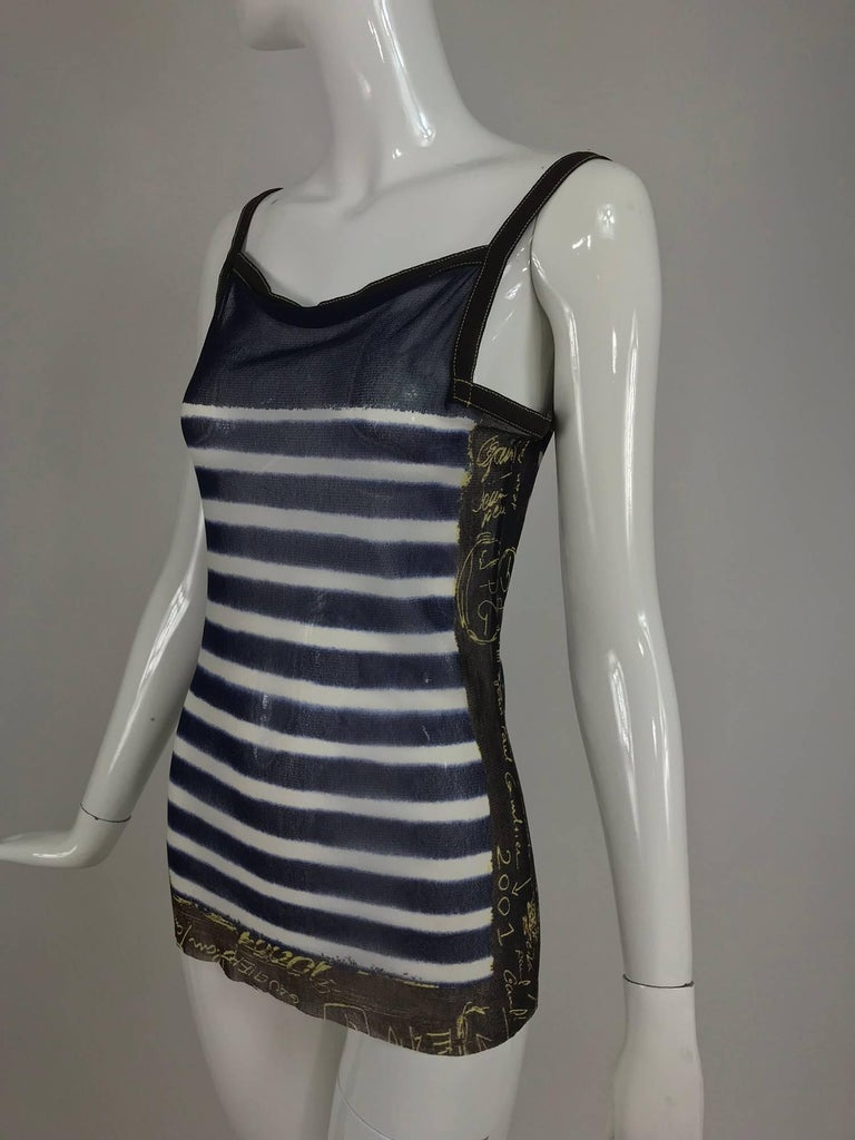 Jean Paul Gaultier signed nautical stripe mesh tank top dated 2001-02 For Sale 7