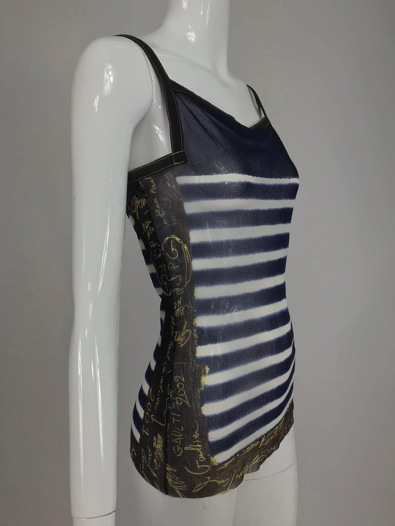 Black Jean Paul Gaultier signed nautical stripe mesh tank top dated 2001-02 For Sale