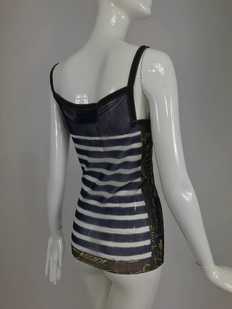 Jean Paul Gaultier signed nautical stripe mesh tank top dated 2001-02 For Sale 2